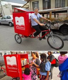 """Awesome. Pay it forward. The former homeless man who created the """"Bicycle Library"""" to bring books to the needy"""