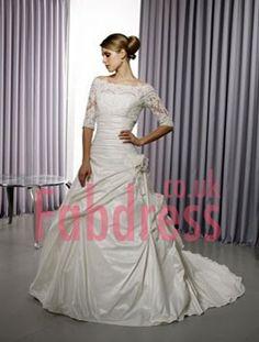 A-Line Off The Shoulder Chapel Train Satin Wdding Dresses For Bride(SZ001070)