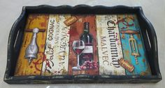 Bandeja Paisley Art, Sauvignon, Tray Decor, Cafe Bar, Diy Organization, Painting On Wood, Projects To Try, Hand Painted, Crafty