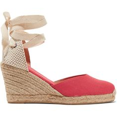 - Soludos papaya and beige espadrilles - Jute wedge heel measures approximately 90mm/ 3.5 inches with a 20mm/ 1 inch platform - Canvas - Woven back panel, almo…