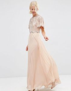 ASOS Embellished Scallop Sleeve Maxi Dress
