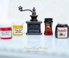 1:12 scale Miniature dollhouse Nescafe coffee bottle, Nutella chocolate spread, Vintage Bronze Class Manual Coffee Grinder, Kawaii, Cute, Doll kitchen, Mini, tiny, Dolls Miniatures, Dollhouse, miniature, Diorama, bottled, strawberry jam, orange jam, doll food