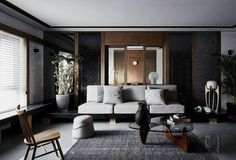 Dark contemporary apartment located in Beijing, China, designed in 2017 by Archistry Design & Research Office. Interior Work, Interior Exterior, Interior Design Living Room, Room Interior, Interior Ideas, Partition Door, Sala Grande, Contemporary Apartment, Types Of Rooms