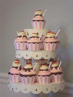 ice-cream-cupcakes & cake pops plus Sundae Cupcakes, Ice Cream Cupcakes, Ice Cream Desserts, Cute Cupcakes, Cupcake Cookies, Party Cupcakes, Themed Cupcakes, Cupcake Wrappers, Birthday Cupcakes