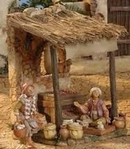 Fontanini Christmas Nativity Village Spice Market - For the Fontanini… Christmas Nativity Scene, Christmas Villages, Christmas Crafts, Christmas Decorations, Nativity Scenes, Miniature Crafts, Miniature Houses, Fontanini Nativity, Nativity Stable