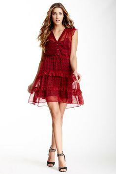 Subtle Luxury Printed Flutter Sleeve Dress on HauteLook