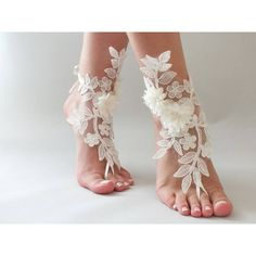 EXPRESS SHIPPING ivory foot jewelry, lace sandals, beach wedding... ($36) via Polyvore featuring jewelry, bridal jewelry, lace anklets, anklet jewelry, cocktail jewelry ve beach anklets