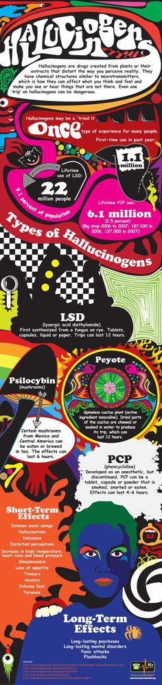 Psychology : Dangers and Effects of Hallucinogens Infographic