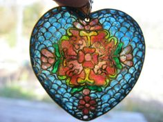 VERY-FINE-GORGEOUS-HUGE-PUFFY-STAINED-GLASS-PLIQUE-A-JOUR-HEART-PENDANT-NECKLACE