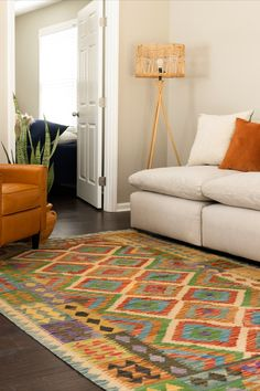 Create a stunning tribal living room decor using our Kilim Maymana Collection! Living Room Colors, Rugs In Living Room, Living Room Decor, Vintage Home Decor, Vintage Rugs, Tribal Decor, Buy Rugs, Kilim Rugs, Decorating Your Home
