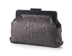 Gray Leather Magnet Purse / Women Clutch / by EllenRubenBagsShoes, $139.00