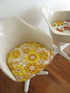 Amazing vintage chairs with recovered cushions!