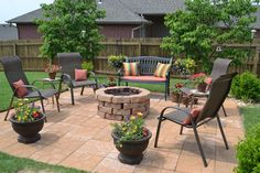 firepit, urns, chairs make a great outdoor seating area