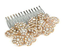 Bedelia - Wedding Hair Comb, Accessories, Rose Gold Hair Comb, Pink Gold, Champagne, Rhinestones, Crystal, Swarovski, Czech crystal