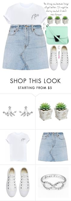 """don't let yourself be controlled by three things: people, money, or past experiences"" by rupp ❤ liked on Polyvore featuring RE/DONE, Converse, casualoutfit, sporty, pastels, newchic and fall2017"