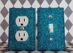 PEACOCK GLITTER Switch Plate / Outlet Cover SET of 2 by SwankElectric, glitter outlet, girls room, teen room, girls decor