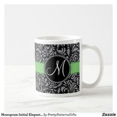 Monogram Initial Elegant Black Damask Green Ribbon Coffee Mug Initial Coffee Mugs, Green Ribbon, Monogram Initials, Custom Mugs, Coffee Travel, Damask, Decoupage, Tea Cups, Elegant