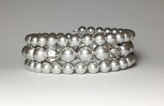 Swarovski Light Grey Pearls & Crystals Triple by DesignsByJen1, $31.00