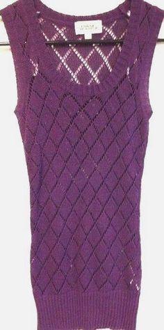 Ladies Shirt Purple Open Diamond Weave Knit Sleeveless Tunic Costa Blanca PS  #CostaBlanca #Tunic #Casual