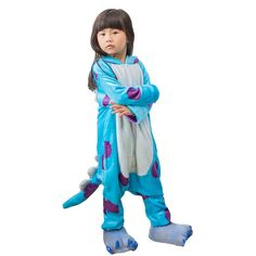 a24810023 Children Pajamas Kigurumi Soft Flannel Cosplay Animal Onesies Sleepwear  Boys Girls Sulley Small -- Click