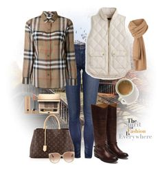 """""""Quilted vest outfit"""" by puppylove7 ❤ liked on Polyvore featuring Burberry, J.Crew, Frye, Louis Vuitton, Clarins and Tom Ford"""