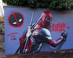 Both Deadpool and @gnashermurals were here! http://globalstreetart.com/gnasher #globalstreetart #graffiti #art #deadpool