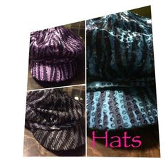 ❤️SALE Fabulous Sequence hats I have 2 hats left. Two  toned turquoise, and two toned purple. They are in good shape. No rips. The linings are not torn. Slight make up stains across the inner band. $6 each. Somethings special Accessories Hats