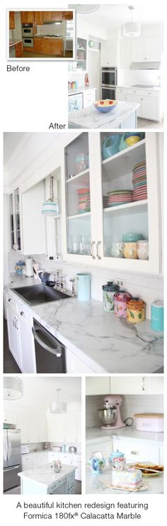 wow, this is an amazing before and after!! {kitchen redesign featuring Formica 180fx® Calacatta Marble}