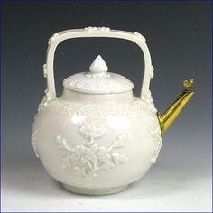 Chinese blanc de chine teapot with European gilt metal spout Kangxi circa 1700.