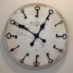 Skeleton key clock. I could make this with a pallet back, and keys bought from craft stores.