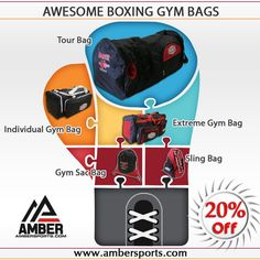 Get 20% off on Amber Boxing Gym Bags at Ambersports.com We have Amber Boxing Extreme Gym Bag, Sac Bag, Individual Gym Bag, Sling Bag, Tour Bag. Great durable nylon bag for the gym, school or for travel.