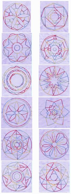 Mandala Quilt Blocks-try copying any of these with rubber bands and thread!