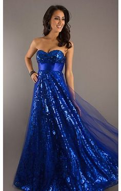 Long Strapless Blue Ball Gown SN-70577