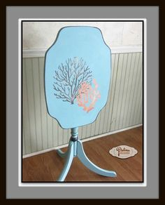 Coastal Accent Table With Metallic Shimmer & Glitter!