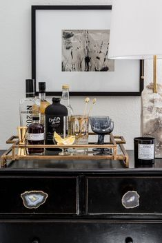 How To Incorporate a Home Office into Your Living Room - Decorative Tray - Ideas of Decorative Tray - Apartment 34 Bar Cart Styling, Bar Cart Decor, Interior Styling, Interior Design, Interior Office, Home Office, Bar Tray, Trays, Cuisines Design