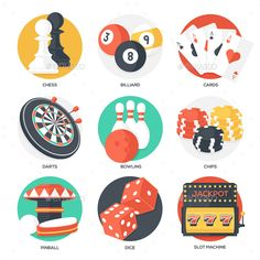 Casino Sport and Leisure Games Icons (Vector EPS, AI Illustrator, TIFF Image, CS, activity, arrow, ball, billiard, bowl, bowling, card, casino, chess, chips, concept, darts, elements, flat, fun, icons, leisure, object, pawn, pin, play, poker, slots, strike, success, symbol, target, vector, win)