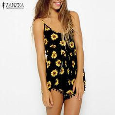 Find More Rompers Information about ZANZEA Fashion 2017 Sexy Women Straps Sunflower Print Playsuit Casual Vintage Short Rompers Womens Jumpsuit S XXL,High Quality jumpsuit pant,China jumpsuits wholesale Suppliers, Cheap jumpsuit romper from Romeo & Juliet Clothes Store on Aliexpress.com