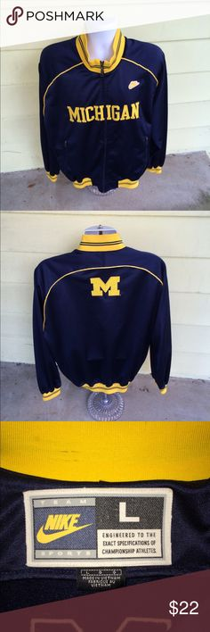 Rare Nike *Michigan Wolverines* zip sweatshirt L Terrific men's Nike full-zip Michigan Wolverines lightweight athletic sweatshirt that is sized large.  Perfect gently used condition.  All see on logos and letters. Nike Shirts Sweatshirts & Hoodies