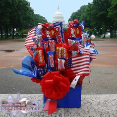 Of July Gift Ideas - of July basket Fourth Of July Food, 4th Of July Celebration, 4th Of July Party, July 4th, Wine Gift Baskets, Candy Baskets, Theme Baskets, Sweet 16 Decorations, Quince Decorations