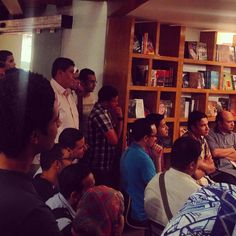 A good crowd fills the AUC Tahrir Bookstore, listening to author Bahaa Abdel Meguid talk about the theories and philosophies behind his epic novella 'Saint Theresa'. Captivating!