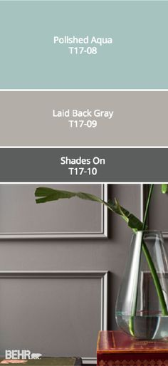 Check out this moody gray color palette from BEHR's collection of 2017 Color Currents. Darker hues like Shades On are brightened by the light neutral of Laid Back Gray and the vivid blue of Polished Aqua. See how you can incorporate these and other modern Wall Colors, House Colors, Aqua Paint Colors, Tips & Tricks, Interior Paint Colors, Suites, Modern Colors, Exterior Paint, Exterior Colors