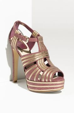Free shipping and returns on Dior 'Glamour' T-Strap Platform Sandal at Nordstrom.com. Gilded leather trims a python-embossed T-strap sandal with a high wrapped heel and platform.