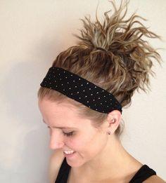 Wide Headband Black and Gold, Fabric Headband, Women's Headwrap, Girls Headband, Elastic Headband. $14.00, via Etsy.