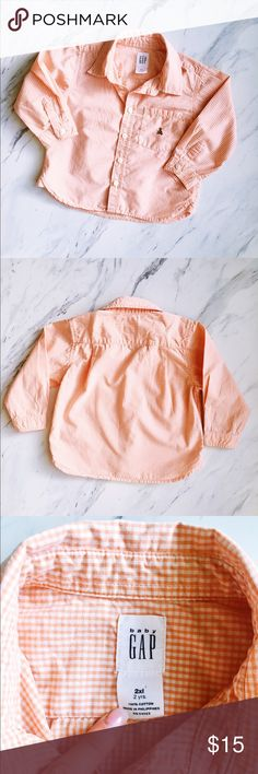 Baby Gap Toddler Orange/Peach Gingham Button Down Perfect condition, so cute!! Perfect for spring, summer and fall. Preppy and pastel. For the most stylish babies! Gender neutral! GAP Shirts & Tops Button Down Shirts