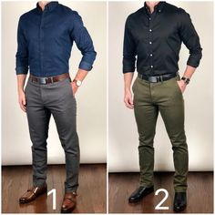 Which outfit would you pick to start you week on Monday❓🔵📁 or ⚫️🌿❓ Happy Sunday❗️ You guys are awesome❗️😀😀😀 Belt You are in the right place about Business Casual dinner Here we offer you the most beau Chinos Men Outfit, Grey Pants Outfit, Gray Pants, Blue Shoes Outfit, Green Pants Men, Business Casual Men, Business Outfit, Men Casual, Casual Wear