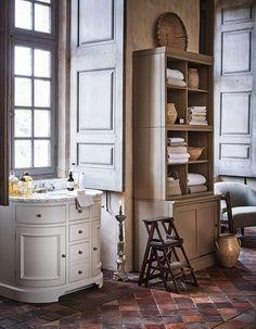 Create your own spa-like sanctuary with oak and marble bathroom furniture. Bathroom Furniture Design, Bathroom Interior, Modular Storage, Storage Spaces, Storage Design, Traditional Bathroom, Small Bathroom, Wooden Bathroom, Master Bathroom