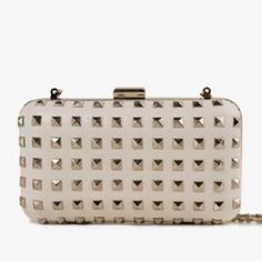 f1498f0dd7 White Brand New Stud Clutch Studded Clutch, Leather Clutch, Forever 21 Bags,  Cute