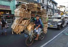 Cardboard recycler in Manila #Philippines #OnlyinthePhilippines