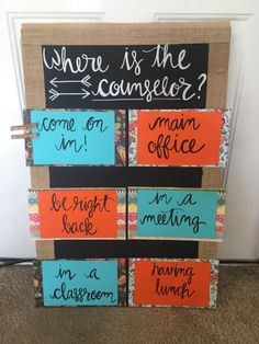 Where is The Counselor Board is completely versatile! Can be made for counselors, teachers, nurses, administrators, etc. Completely customizable - Decoration For Home School Counselor Door, High School Counseling, Elementary School Counselor, School Counselor Organization, Career Counseling, Social Work Offices, School Social Work, School Office, Nurse Office