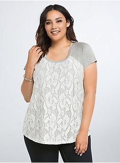 """<p>Don't be fooled by the fancy front on this tee; its got comfort in its DNA. The heather grey knit tee underlay keeps you at ease, while the white lace overlay instantly takes the look to sophisticated territory. The button back lends a too-cute touch.</p>  <ul> <li>Size 1 measures 28 1/2"""" from shoulder</li> <li>Rayon/spandex/nylon</li> <li>Wash cold, dry flat</li> <li>Imported plus size top</li> </ul>"""
